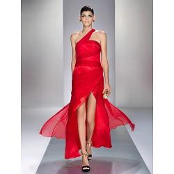 Formal Evening Prom Military Ball Dress Ruby Plus Sizes Petite Sheath Column One Shoulder Ankle Length Chiffon Stretch Satin
