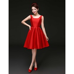 Cocktail Party Dress Ruby Plus Sizes A Line Square Short Mini Satin