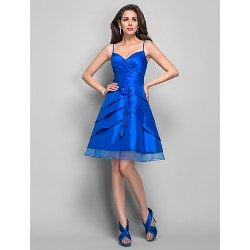 Dress - Royal Blue Plus Sizes / Petite A-line Spaghetti Straps Knee-length Taffeta