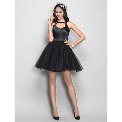 Cocktail Party /  Dress - Black Plus Sizes / Petite A-line Straps Short/Mini Stretch Satin / Tulle