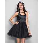 TS Couture Cocktail Party / Dress - Black Plus Sizes / Petite A-line Straps Short/Mini Stretch Satin / Tulle Special Occasion Dresses