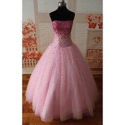 Formal Evening Dress Candy Pink Petite A Line Strapless Floor Length Satin Tulle