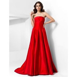 Formal Evening Dress Ruby Plus Sizes Petite A Line Princess Strapless Court Train Taffeta