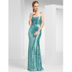 TS Couture Prom / Military Ball / Formal Evening Dress - Jade Plus Sizes / Petite Sheath/Column Straps Sweep/Brush Train Sequined Special Occasion Dresses