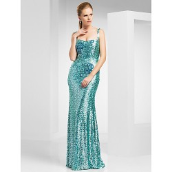 Prom / Military Ball / Formal Evening Dress - Jade Plus Sizes / Petite Sheath/Column Straps Sweep/Brush Train Sequined