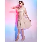 Cocktail Party Dress - Champagne Plus Sizes / Petite A-line / Princess Bateau Knee-length Chiffon Special Occasion Dresses