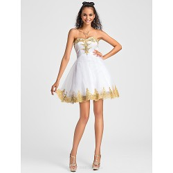 Cocktail Party / Sweet 16 Dress - White Plus Sizes / Petite Ball Gown / A-line Sweetheart / Strapless Short/Mini Tulle / Lace