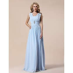 Prom Military Ball Formal Evening Dress Sky Blue Plus Sizes Petite Sheath Column V Neck Floor Length Chiffon