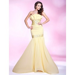 Prom Military Ball Formal Evening Dress Daffodil Plus Sizes Petite Trumpet Mermaid Strapless Sweep Brush TrainChiffon Stretch