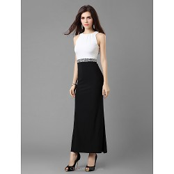 Formal Evening Military Ball Dress Black Petite Sheath Column Jewel Ankle Length Jersey