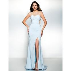 Formal Evening Dress Sky Blue Trumpet Mermaid Scoop Sweep Brush Train Chiffon