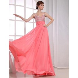 Formal Evening Dress Watermelon Plus Sizes A Line V Neck Floor Length Chiffon