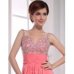 Formal Evening Dress - Watermelon Plus Sizes A-line V-neck Floor-length Chiffon Special Occasion Dresses