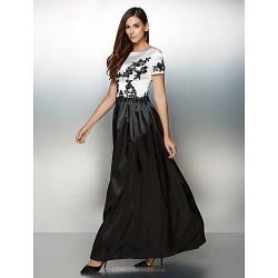 Formal Evening Dress Multi Color A Line Scoop Ankle Length Satin