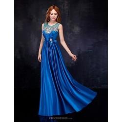 Formal Evening Dress Royal Blue Sheath Column Scoop Floor Length Satin