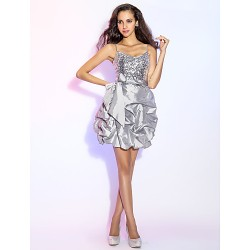 Cocktail Party / Prom / Holiday Dress - Silver Plus Sizes / Petite A-line / Princess V-neck Short/Mini Taffeta / Sequined