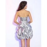 TS Couture Cocktail Party / Prom / Holiday Dress - Silver Plus Sizes / Petite A-line / Princess V-neck Short/Mini Taffeta / Sequined Special Occasion Dresses