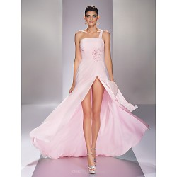 Formal Evening / Prom Dress - Blushing Pink Plus Sizes / Petite A-line One Shoulder Sweep/Brush Train Georgette