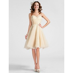 Cocktail Party Prom Dress Champagne Plus Sizes Petite A Line Princess Sweetheart Spaghetti Straps Knee Length