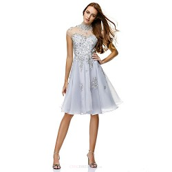 Cocktail Party Dress - Silver A-line High Neck Knee-length Chiffon