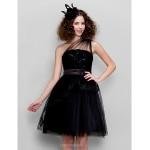 Cocktail Party Dress - Black Plus Sizes / Petite A-line / Princess One Shoulder Knee-length Tulle Special Occasion Dresses