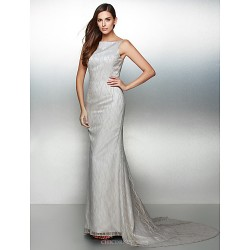 Formal Evening Dress Silver Trumpet Mermaid Bateau Court Train Lace