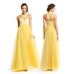 Formal Evening Dress Daffodil A Line Jewel Floor Length Tulle Charmeuse