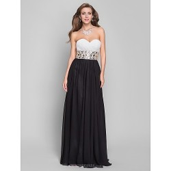 Formal Evening / Military Ball Dress - Black Plus Sizes / Petite A-line Sweetheart Floor-length Chiffon