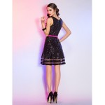 Cocktail Party / Holiday Dress - Black Plus Sizes / Petite A-line Scoop Short/Mini Sequined / Organza Special Occasion Dresses