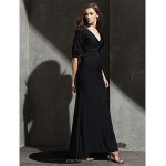 TS Couture Formal Evening Dress - Black Plus Sizes / Petite Sheath/Column V-neck Sweep/Brush Train Knit Special Occasion Dresses