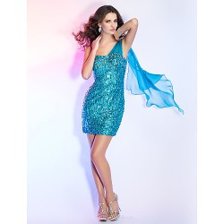Cocktail Party Holiday Dress Pool Plus Sizes Petite Sheath Column One Shoulder Short Mini Sequined