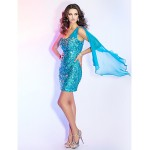 TS Couture Cocktail Party / Holiday Dress - Pool Plus Sizes / Petite Sheath/Column One Shoulder Short/Mini Sequined Special Occasion Dresses