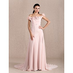 Formal Evening Dress - Pearl Pink Plus Sizes / Petite A-line / Princess Off-the-shoulder Court Train Chiffon