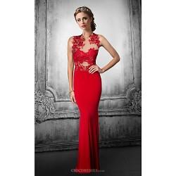 Formal Evening Dress Ruby Black Plus Sizes Petite Trumpet Mermaid Jewel Floor Length Lace Tulle