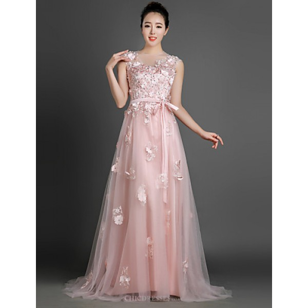 Formal Evening Dress - Pearl Pink A-line/Sheath/Column Jewel Court Train Tulle Special Occasion Dresses