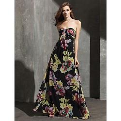 Formal Evening Dress Print Plus Sizes Petite Sheath Column Sweetheart Floor Length Chiffon
