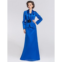Trumpet Mermaid Plus Sizes Petite Mother Of The Bride Dress Royal Blue Floor Length Long Sleeve Satin