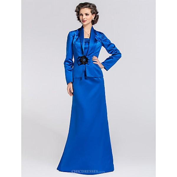 Trumpet/Mermaid Plus Sizes / Petite Mother of the Bride Dress - Royal Blue Floor-length Long Sleeve Satin Mother Of The Bride Dresses
