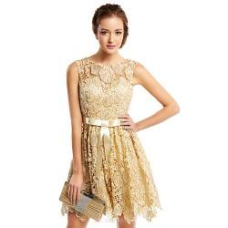 Cocktail Party Dress - Champagne A-line Scoop Short/Mini Lace