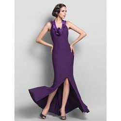Formal Evening Dress - Grape Plus Sizes / Petite Sheath/Column Halter / V-neck Floor-length Jersey