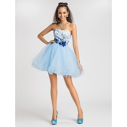 Cocktail Party / Prom / Sweet 16 Dress - Sky Blue Plus Sizes / Petite Princess / Ball Gown / A-line Sweetheart / Strapless