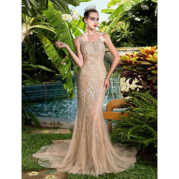 Formal Evening Dress - Champagne Plus Sizes / Petite Sheath/Column V-neck Court Train Stretch Satin Special Occasion Dresses