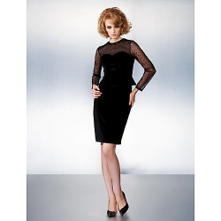 Dress Black Plus Sizes Petite Sheath Column Jewel Knee Length Velvet