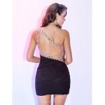 Cocktail Party / Holiday Dress - Black Plus Sizes / Petite Sheath/Column One Shoulder Short/Mini Chiffon Special Occasion Dresses