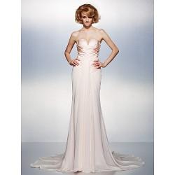 Dress - Champagne Plus Sizes / Petite Trumpet/Mermaid V-neck Court Train Chiffon / Taffeta
