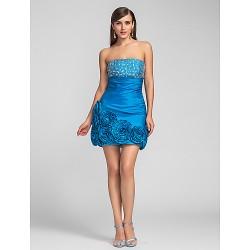 Cocktail Party Prom Dress Ocean Blue Plus Sizes Petite Sheath Column Strapless Short Mini Taffeta
