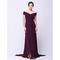 Formal Evening Dress - Grape A-line Off-the-shoulder Court Train Chiffon