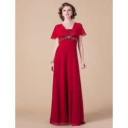 Sheath Column Plus Sizes Petite Mother Of The Bride Dress Ruby Floor Length Short Sleeve Chiffon