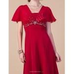 Sheath/Column Plus Sizes / Petite Mother of the Bride Dress - Ruby Floor-length Short Sleeve Chiffon Mother Of The Bride Dresses