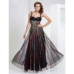 Formal Evening / Military Ball Dress - Multi-color Plus Sizes / Petite Sheath/Column Straps / Sweetheart Floor-length Tulle
